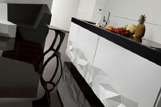 отличная кухонная комната в стиле современного оригами