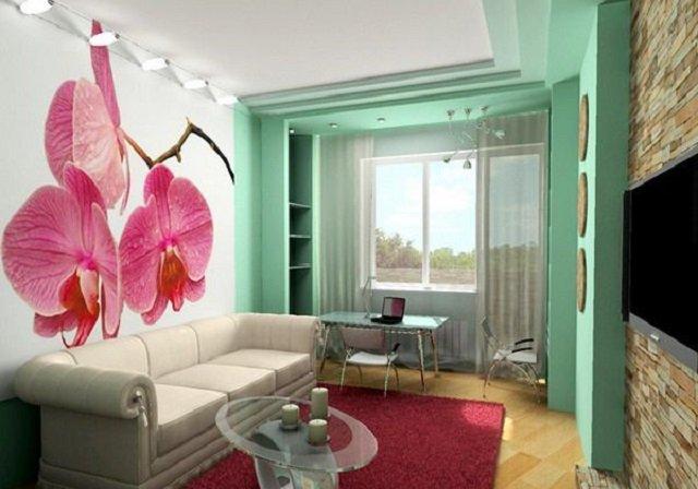 идея фотообои орхидеи в интерьере