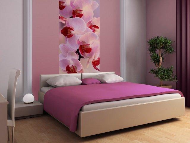 стильная идея - фотообои орхидеи в интерьере