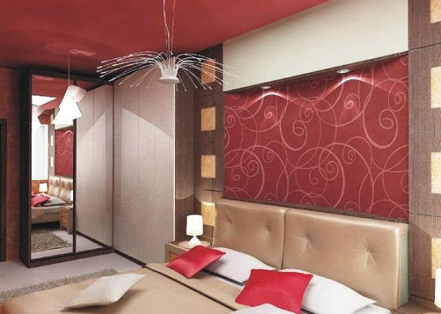 фото комнаты с бордовыми обоями