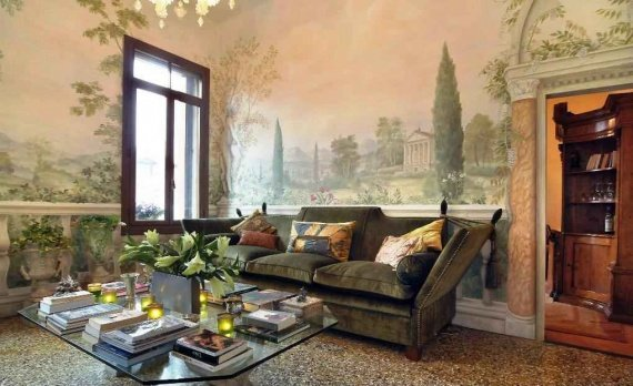 фотообои фрески в интерьере - непревзойденная классика