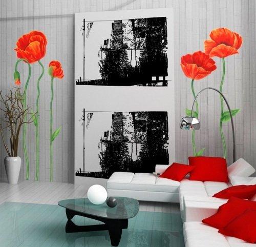 фотообои маки в интерьере вашей комнаты