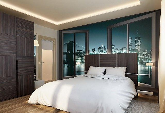 вид ночного города на фотообоях вашей комнаты