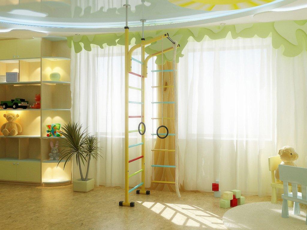 интерьер детской комнаты с двумя окнами