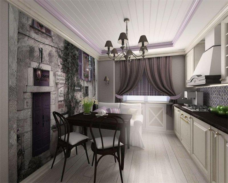 темные шторы в интерьере кухни фото