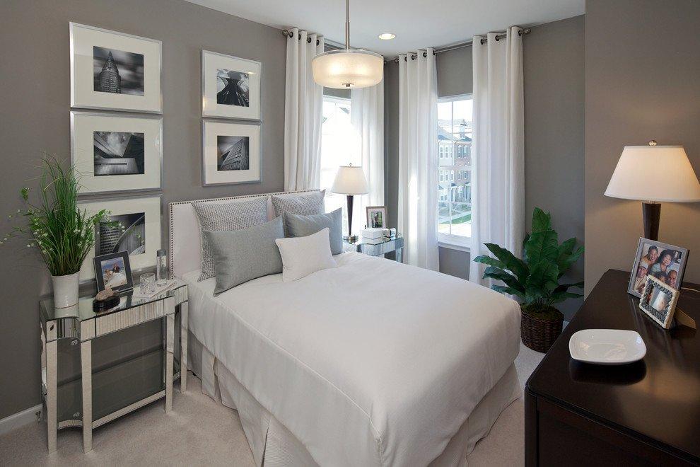 белые шторы в интерьере спальни фото