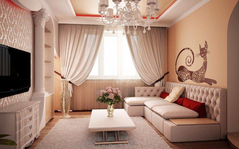 белые шторы в интерьере гостиной фото
