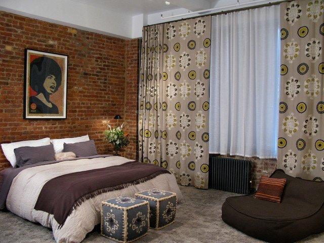 крашеный кирпич в интерьере спальни фото
