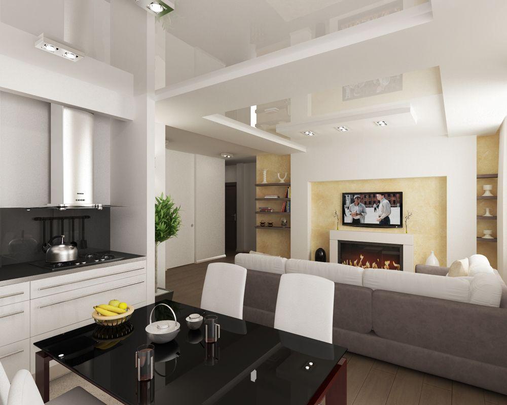 Дизайн интерьера кухни совмещенной с гостиной фото в панельном доме