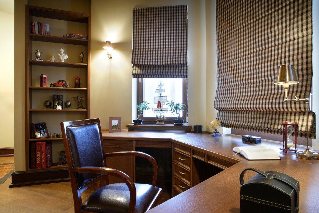 Дизайн кабинета в эркере