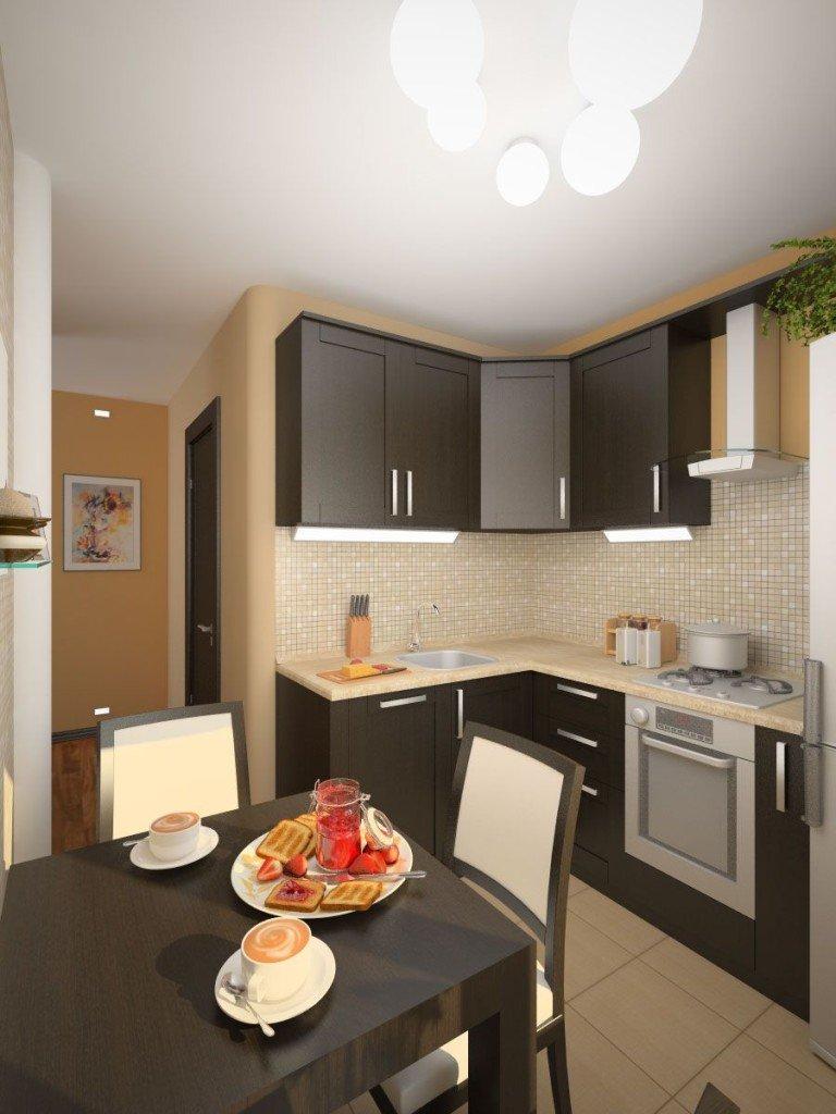 маленькая кухня дизайн фото 6 метров