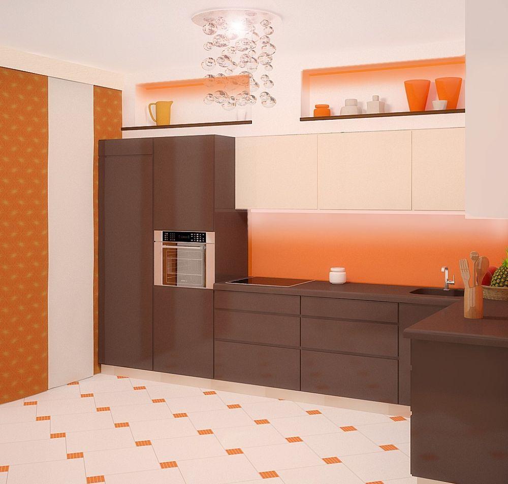 Дизайн кухни 9 кв.м. с камнем