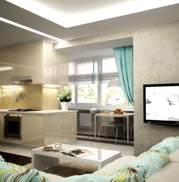 Интерьер кухни с лоджией фото