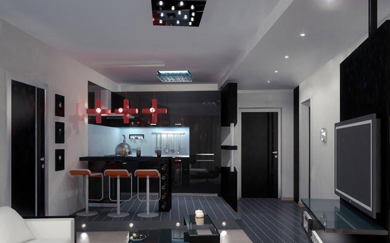 Фото дизайна гостиной студии