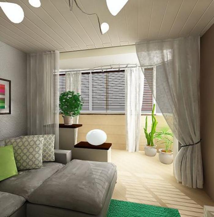 Дизайн спальни с гостиной и с балконом
