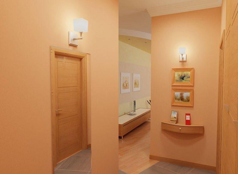 Дизайн окраски стен в коридоре