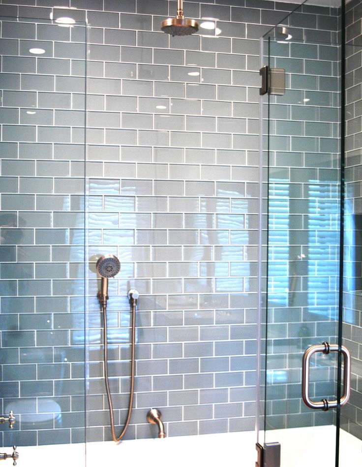 Light blue ceramic subway tile