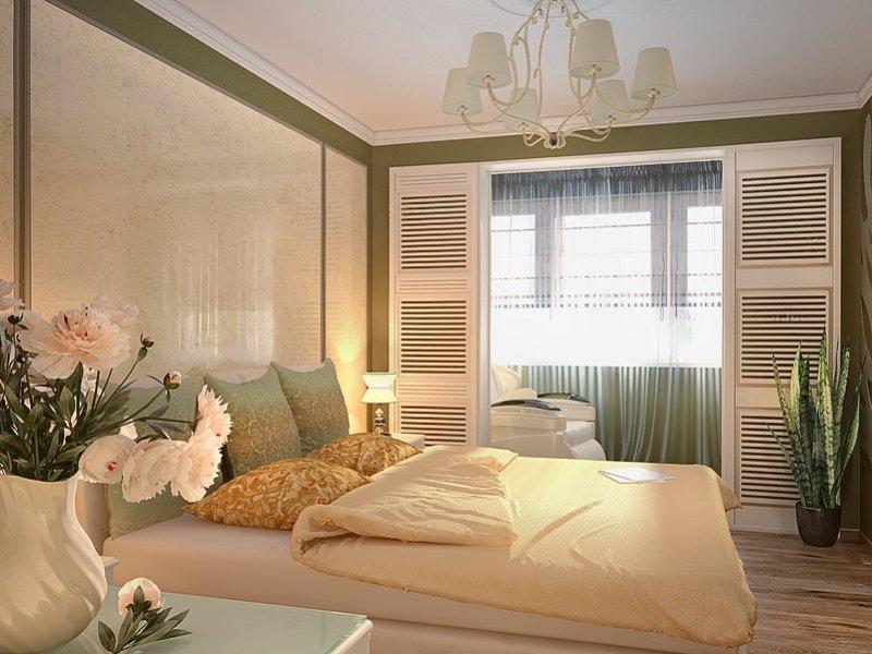"""Совмещенная с балконом спальня в светлых тонах"""" - карточка п."""