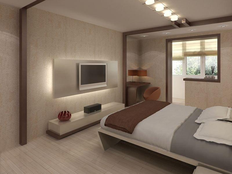 Интерьер спальни с балконом с