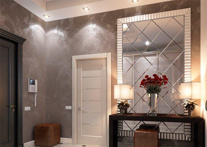 Зеркальная стена в прихожей дизайн