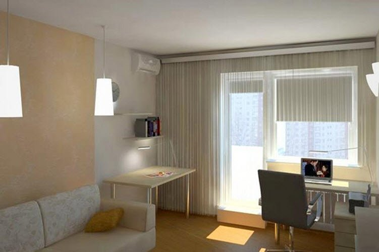 Beautiful design small bedroom in a small apartment c photo.