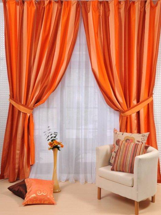 Дизайн штор для зала оранжевые
