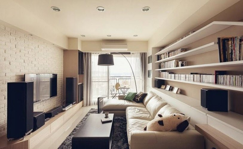 Дизайн гостиной удлиненной