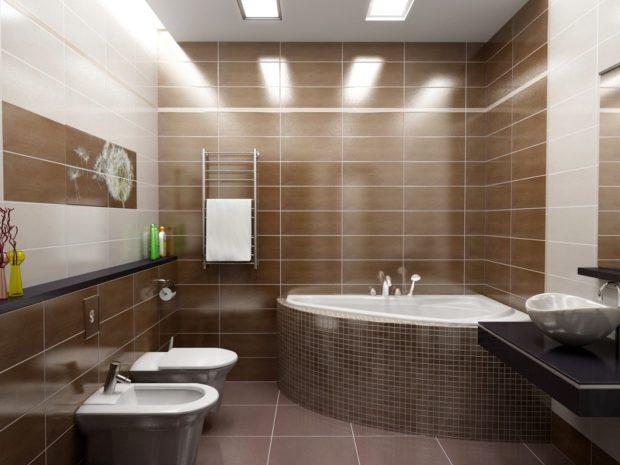 Дизайн ванной коричневого цвета со встроенным освещением
