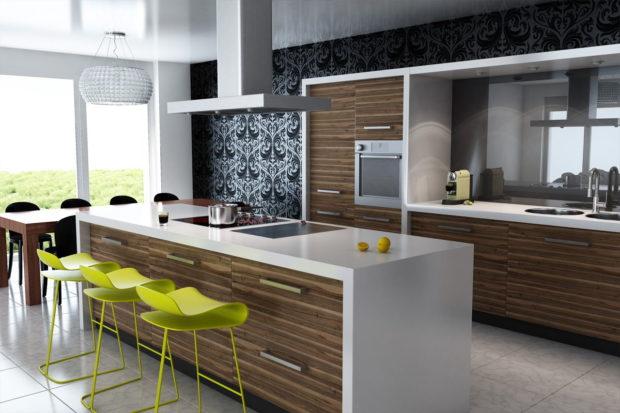 Дизайн мебели для кухни 2017 с текстурой под дерево