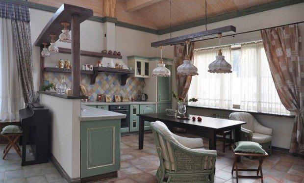 кухня-гостиная в прованском стиле