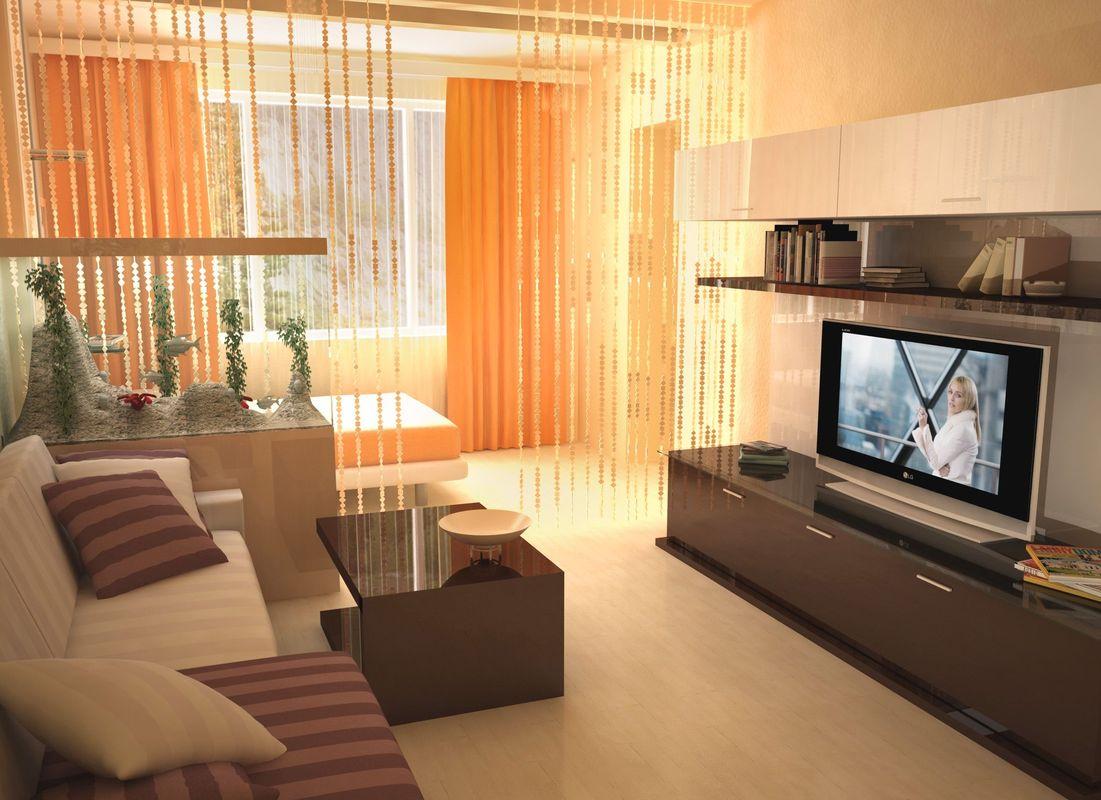 В 18-метровых комнатах можно поэкспериментировать с зонированием, отделив  гостиную от спальни на одной небольшой площади
