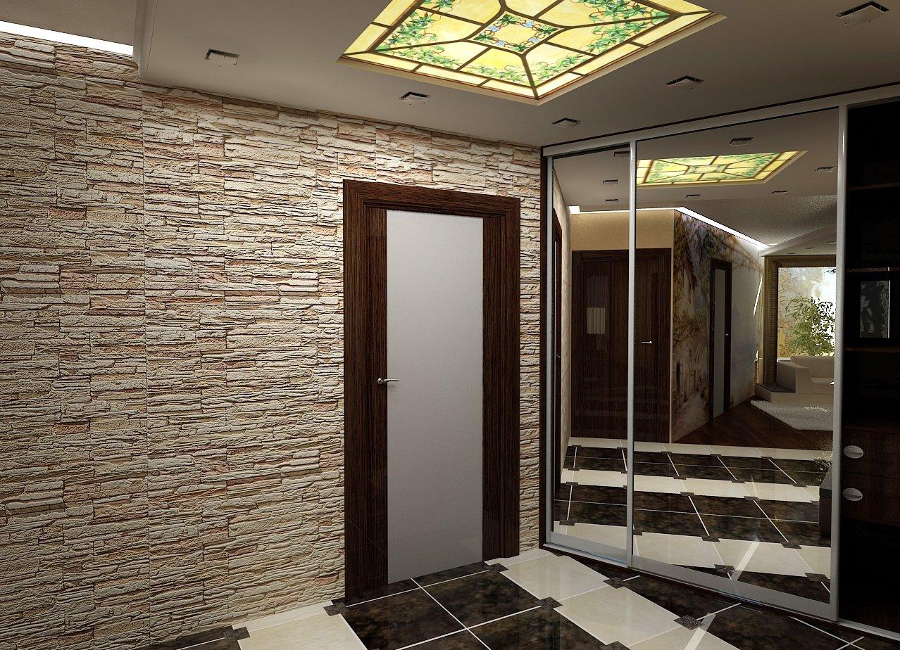Дизайн прихожей с декоративным камнем