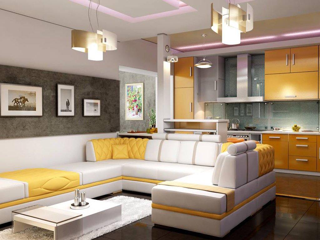 Гостиная совмещенная с кухней дизайн реальные
