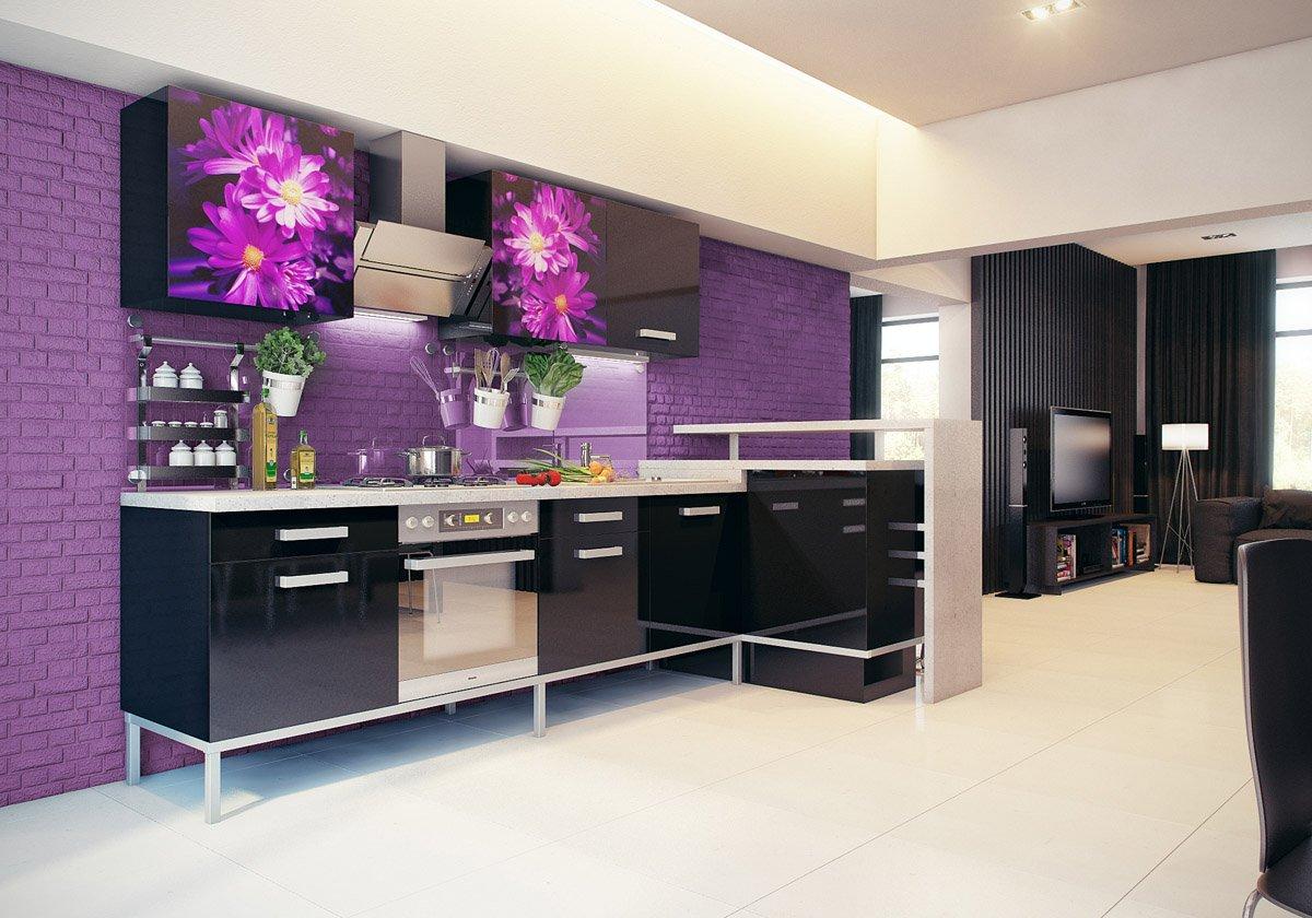 Кухня в сиреневых тонах дизайн