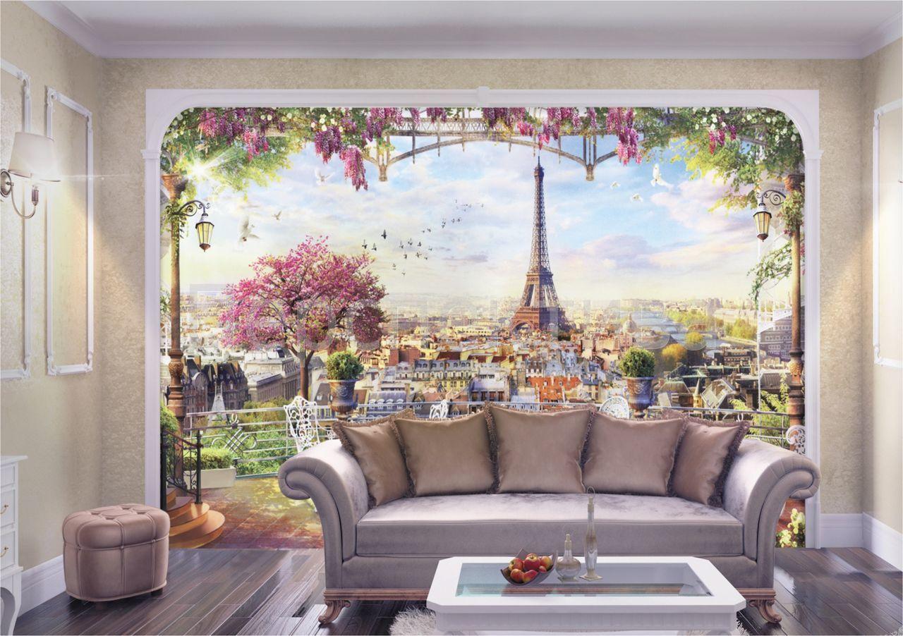Обои-фрески на стену в интерьере фото