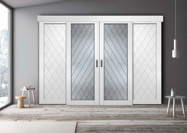 Межкомнатные раздвижные двери белого цвета