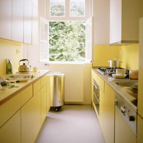 дизайн интерьера длинной узкой кухни