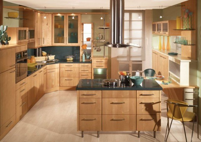 дизайн кухни под дерево фото