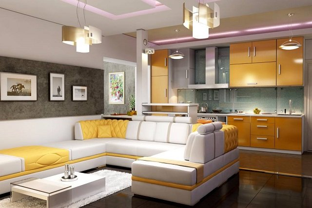 советы дизайна кухни совмещенной с гостиной