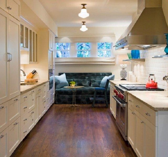 узкая длинная кухня, превращаем недостатки в достоинства