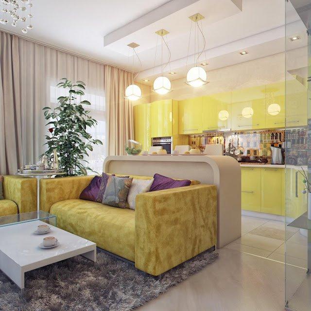 интерьер гостиной совмещенной с кухней дизайнерские идеи