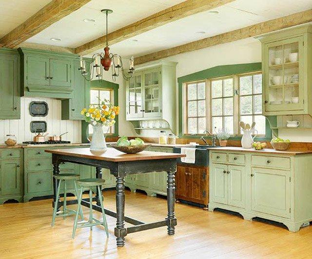 используем фисташковый цвет в интерьере кухни