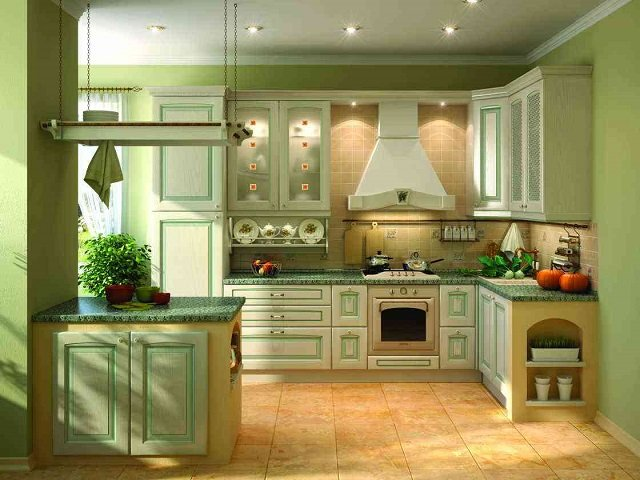 неплохие качества фисташкового цвета в интерьере кухни