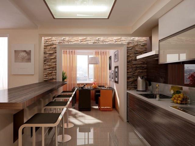 неплохой интерьер длинной узкой кухни
