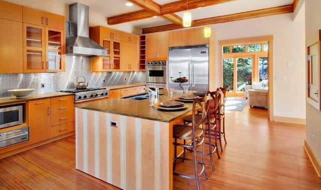 дивный интерьер кухни в деревянном доме, как сочетать естественность и модные разработки