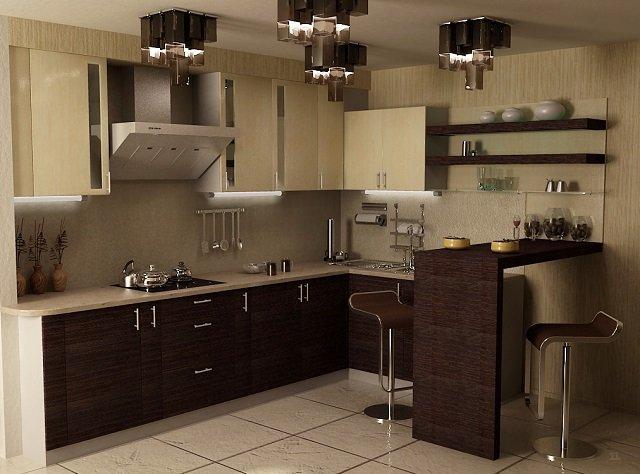 дизайнерский вариант кухни с барной стойкой