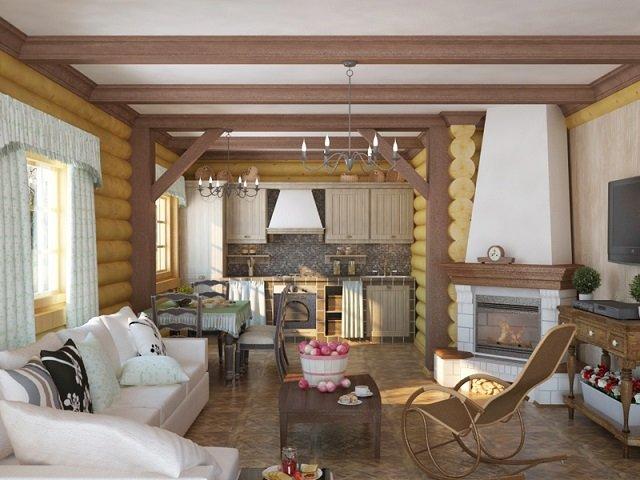 хороший интерьер кухни в деревянном доме