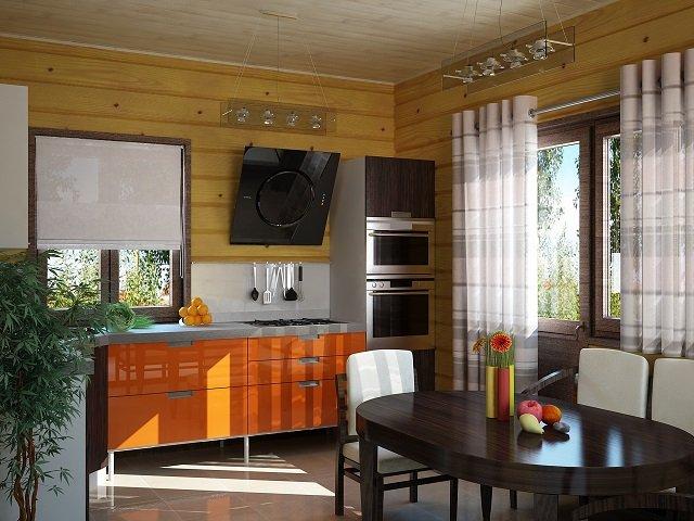 как сочетать естественность и модные разработки кухни в деревянном доме