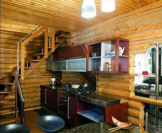кухня в деревянном доме. Примеры.