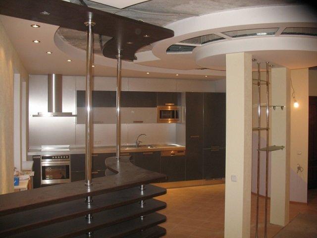 кухня модерн с барной стойкой